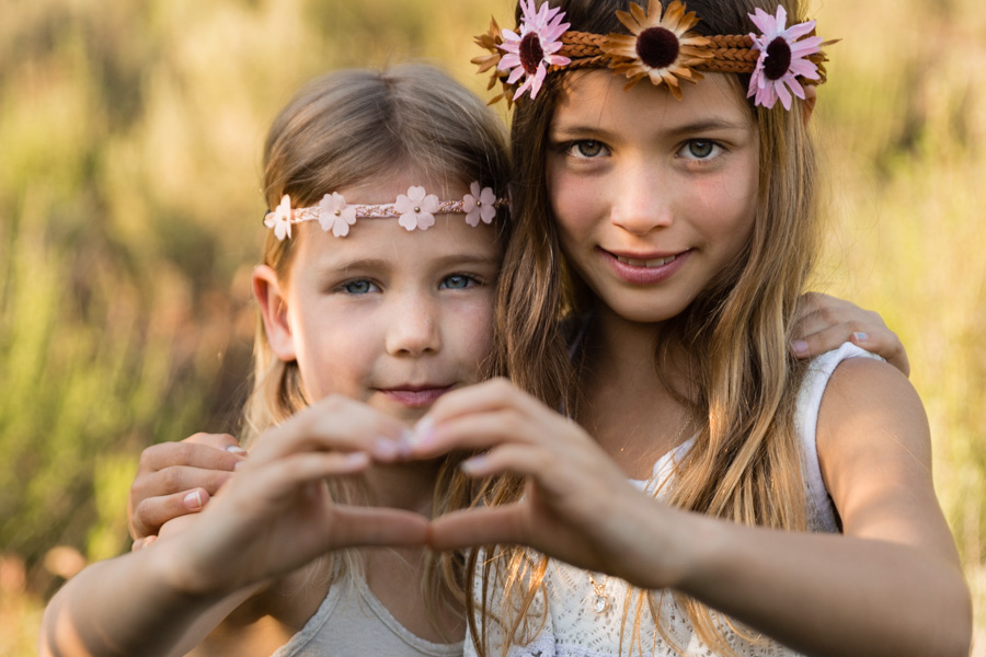 two sisters, boho, flower headdress