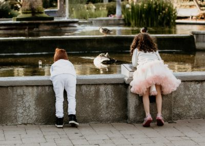 kids and duck pond