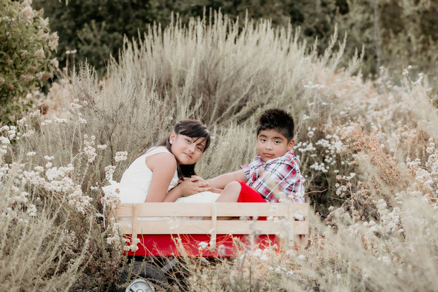 kids in red wagon