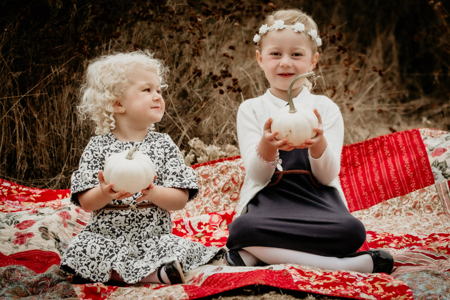 sisters, children, siblings, fall, pumpkins, portraits, family