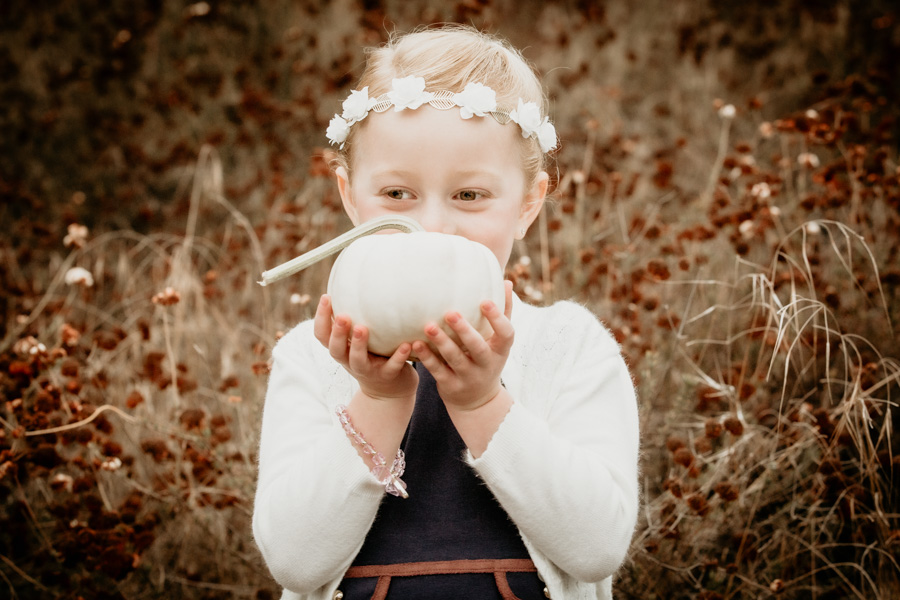 little girl, girl with pumpkin, fall portraits, family