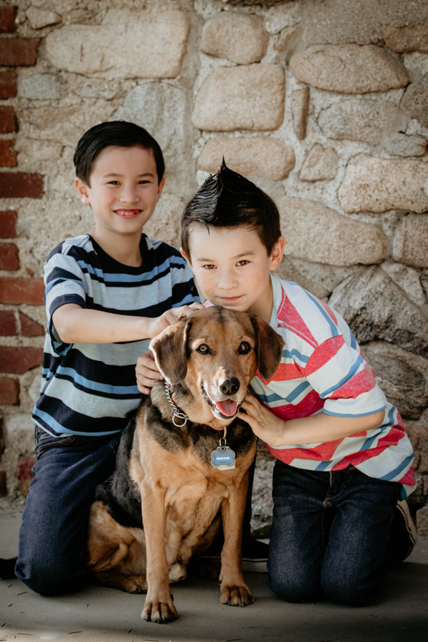 brothers, dog, family