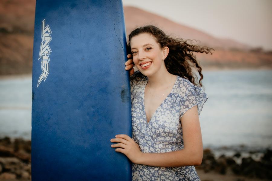 senior session, girl and surfboard, beach