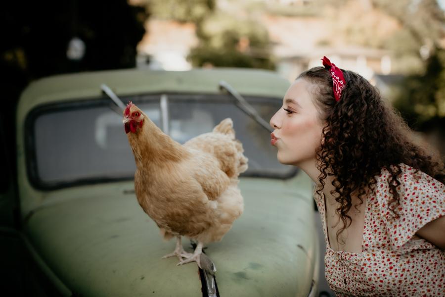 senior session, chicken, vintage truck