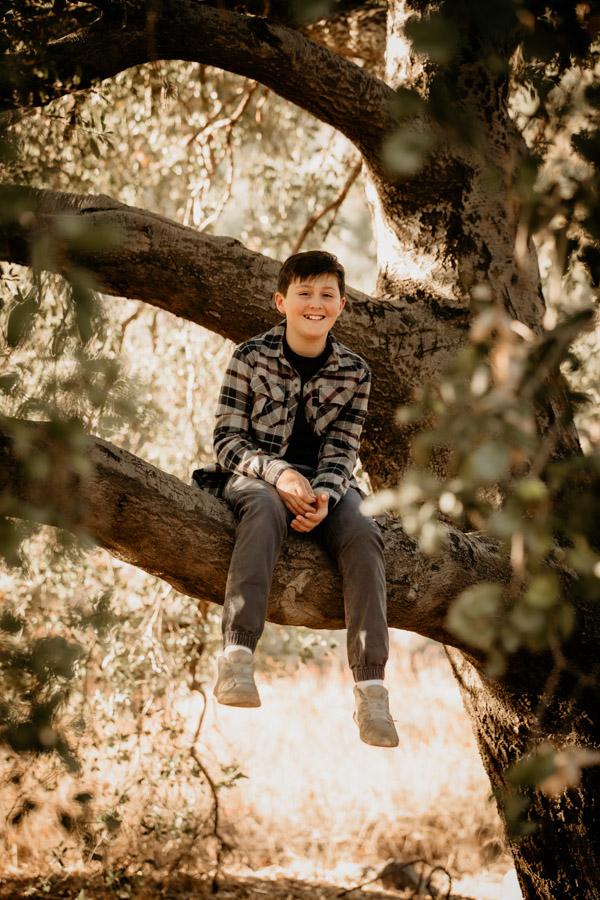 boy in a tree, teen, family
