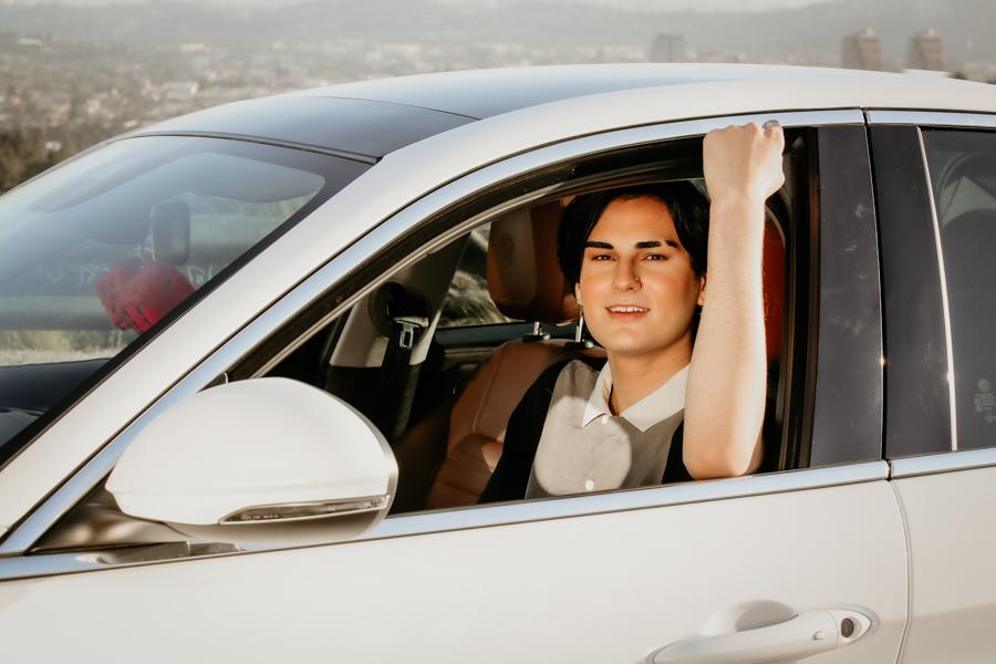 guy and car, senior guy portrait