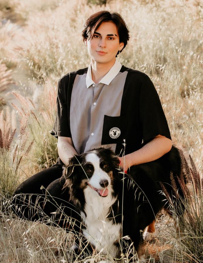 senior guy portrait, guy and dog